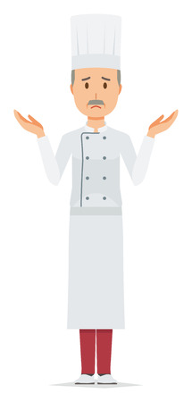 An elderly male chef wearing a cook coat is shrugging his shoulders