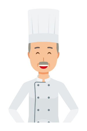 An elderly male chef wearing a cook coat is standing arms akimbo Vettoriali