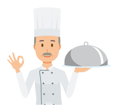 An elderly male chef wearing a cook coat has the dish which he cooked Archivio Fotografico - 115212044