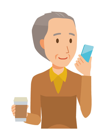 An elderly man wearing brown clothes has coffee and manipulating a smartphone