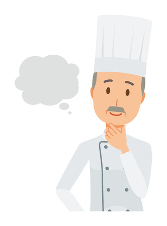 An elderly male chef wearing a cook coat is imagining