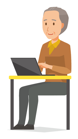 An elderly man wearing brown clothes is operating a laptop computer Vettoriali