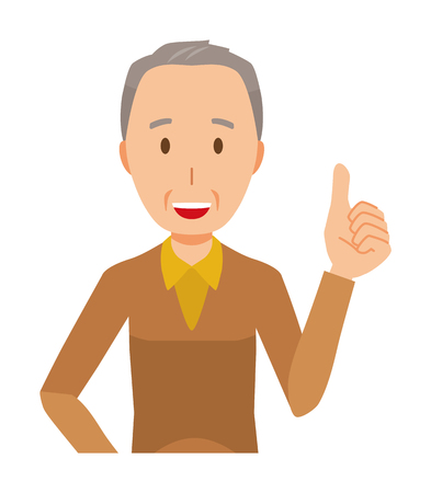 An elderly man wearing brown clothes is showing thumbs up