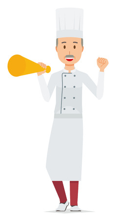 An elderly male chef wearing a cook coat has a megaphone