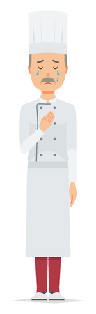 An elderly male chef wearing a cook coat is crying