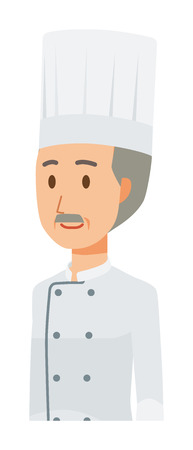 An elderly male chef wearing a cook coat. Oblique angle