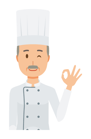 An elderly male chef wearing a cook coat is playing an okay sign Vettoriali