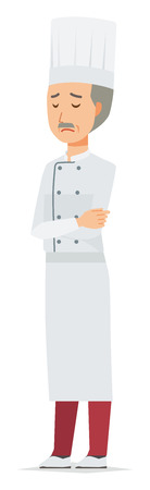 An elderly male chef wearing a cook coat is depressed Vettoriali