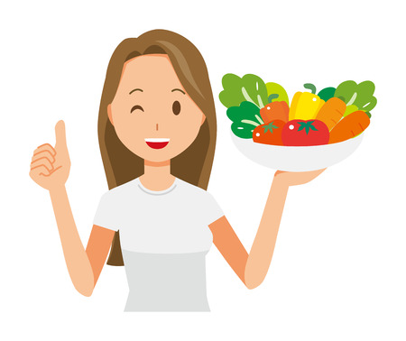 A long hair young woman has vegetables