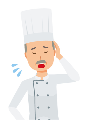 An elderly male chef wearing a cook coat is tired 일러스트