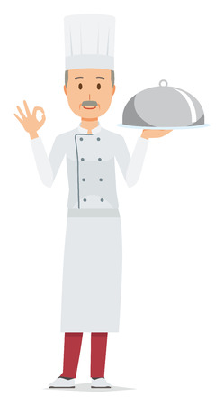 An elderly male chef wearing a cook coat has the dish which he cooked