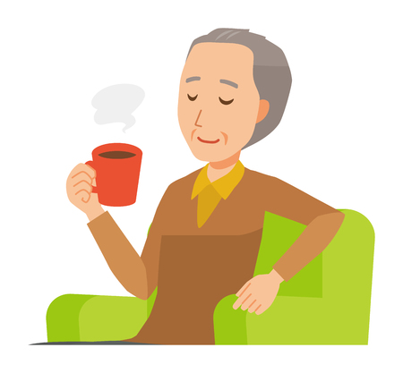 An elderly man wearing brown clothes is sitting on a sofa and drinking coffee 스톡 콘텐츠 - 115212075