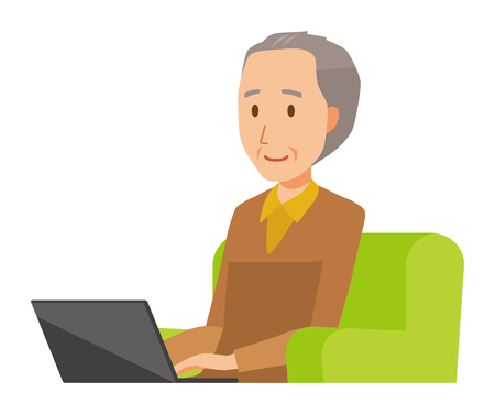 An elderly man wearing brown clothes is sitting on a sofa and operating a laptop computer