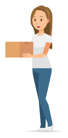 A long hair young woman has a box Ilustracja