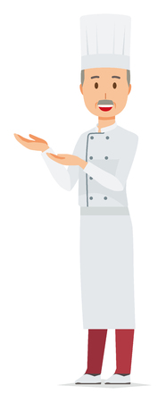 An elderly male chef wearing a cook coat is guiding with both hands