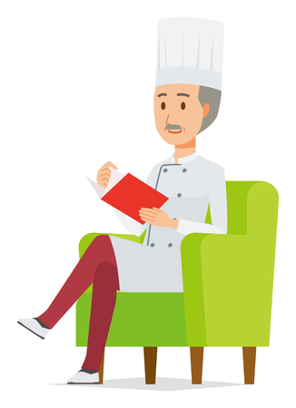 An elderly male chef wearing a cook coat is reading on a sofa
