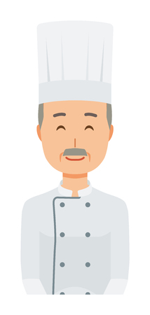 An elderly male chef wearing a cook coat is smiling