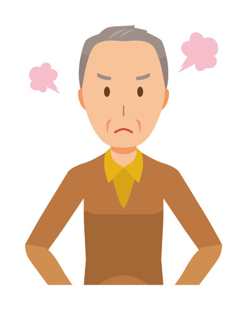 An elderly man wearing brown clothes is angry