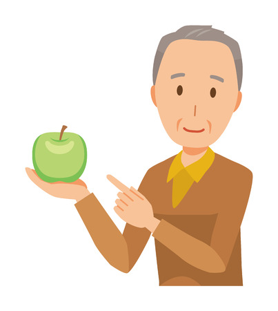 An elderly man wearing brown clothes has a green apple Vettoriali