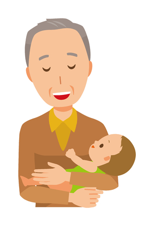 An elderly man wearing brown clothes holds a baby in his arm 스톡 콘텐츠 - 115212113