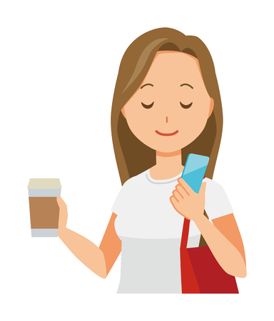 A long hair young woman has coffee and manipulating a smartphone