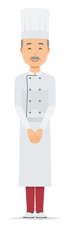 An elderly male chef wearing a cook coat is smiling 스톡 콘텐츠 - 115212120