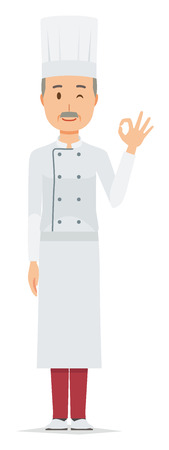 An elderly male chef wearing a cook coat is playing an okay sign Illustration