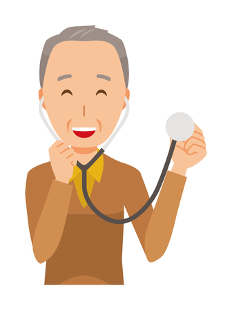An elderly man wearing brown clothes has a stethoscope