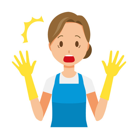 A woman wearing a blue apron and rubber gloves is surprised