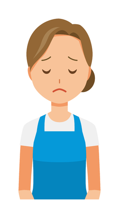 A woman wearing a blue apron is apologizing