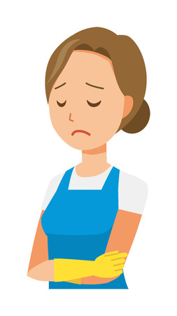 A woman wearing a blue apron and rubber gloves is depressed
