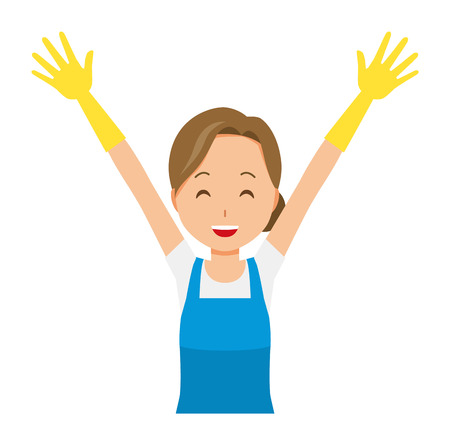 A woman wearing a blue apron and rubber gloves is putting up both hands Çizim
