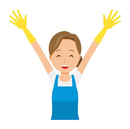 Una donna che indossa un grembiule blu e guanti di gomma sta alzando entrambe le mani Vettoriali