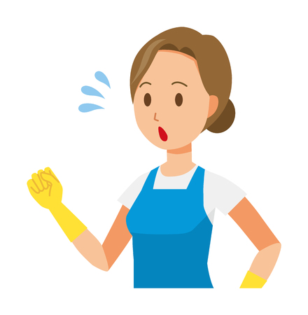 A woman wearing a blue apron and rubber gloves is running