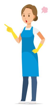 Una donna che indossa un grembiule blu e guanti di gomma indica con rabbia un dito Vettoriali