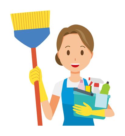 Le donne che indossano grembiuli blu e guanti di gomma hanno diversi strumenti per la pulizia