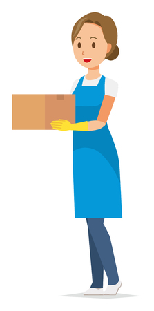 A woman wearing a blue apron and rubber gloves has a box