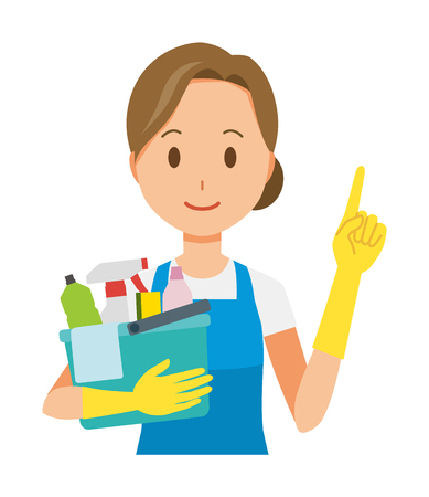 A woman wearing a blue apron and rubber glove has multiple cleaning tools.And she points out Ilustração