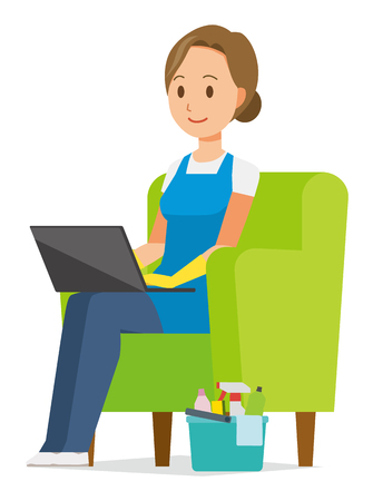 A woman wearing a blue apron and rubber gloves sits on the sofa and is operating a laptop computer Illustration
