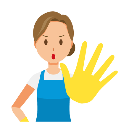 A woman wearing a blue apron and rubber gloves is stop gesture Illustration