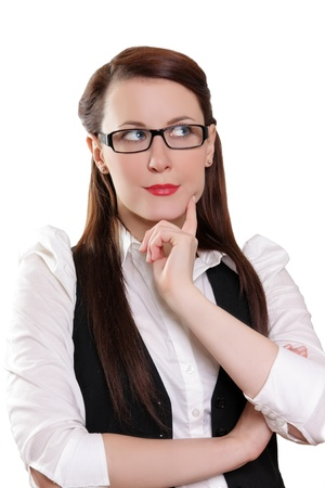 Portrait of beautiful businesswoman thinking about new concept photo