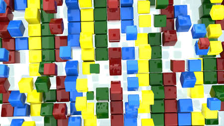 Bright colored background. Multicolors cubes are jumping with white backdrop. 3D-animation