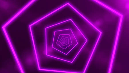 Abstract futuristic tunnel with neon purple light. 3d render, glowing lines