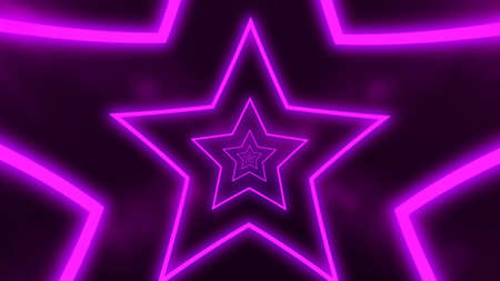 Abstract digital background with neon purple stars. Abstract tunnel, portal.