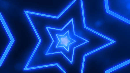 Abstract digital background with neon blue stars. Abstract tunnel, portal.