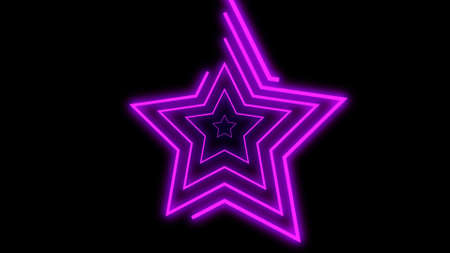 Purple colored bright neon lines shaping stars on black background. 3d render, neon lights, virtual reality