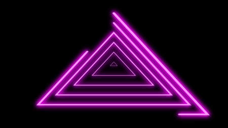 Neon lines triangles shape full loop. Purple colored bright lines on black background. 写真素材