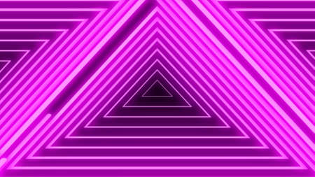 Abstract digital background with neon purple triangles. Abstract tunnel, portal.