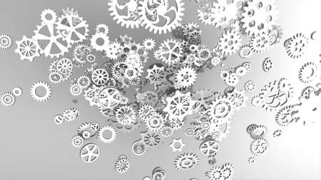 Metallic gears at grey background. Decorative frame. Abstract seamless grey surface. 3D rendering. 写真素材