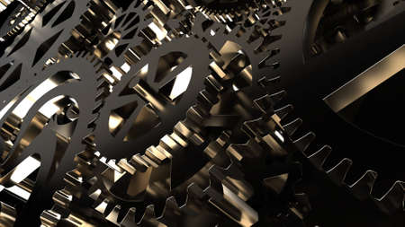 Metallic gears at black background. Decorative frame. Abstract seamless dark surface. 3D rendering. Close up 写真素材